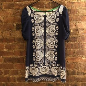 Anthropology blue and white shift dress